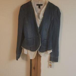 INC denim blazer with white inside layer